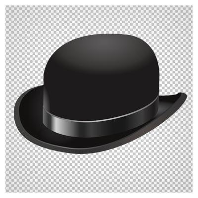 دانلود کلاه شابگاهی (کلاه شاپو) مشکی لبه خم به صورت دوربری شده و فاقد بکگرند