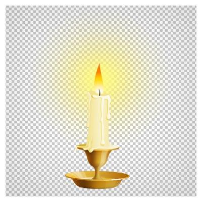 دانلود فایل png جا شمعی کوچک و شمع روشن با پسوند ترانسپرنت و دوربری شده