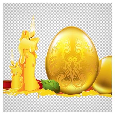 دانلود شمع و تخم مرغهای طلایی تزیینی به صورت فایل ترانسپرنت و دوربری شده
