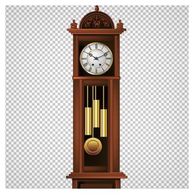 دانلود تصویر ساعت ایستاده چوبی قدیمی بصورت فایل ترانسپرنت و بدون پس زمینه