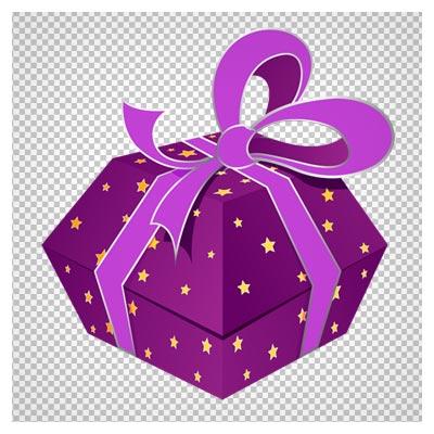 دانلود جعبه هدیه ی بنفش کارتونی بصورت فایل ترانسپرنت و بدون بکگرند