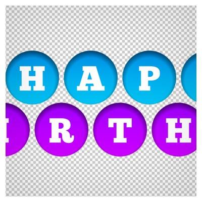 دانلود لوگو happy birthday دایره ای دوربری شده و بدون پس زمینه