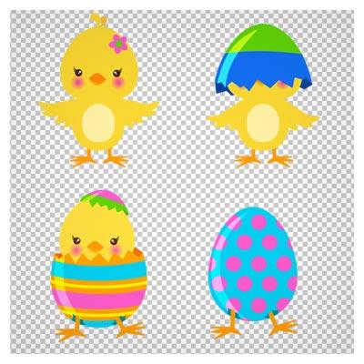 دانلود فایل بدون پس زمینه جوجه زرد و تخم مرغ های رنگی کارتونی با فرمت png