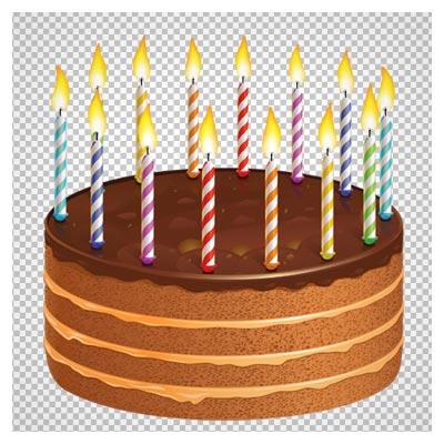 دانلود تصویر کیک شکلاتی کاکائویی و شمع بصورت فایل دوربری شده فاقد پس زمینه