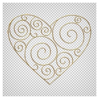 دانلود تصویر قلب فلزی طرح دار (فرفوژه دار) بصورت فایل بدون پس زمینه و دوربری شده