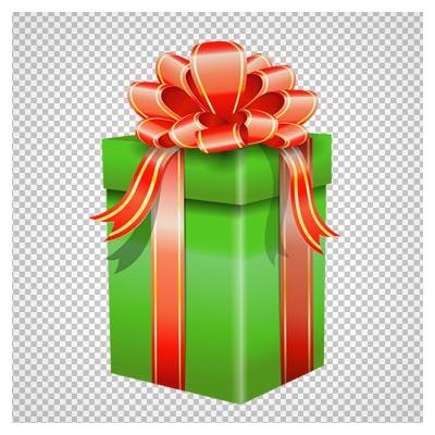 دانلود باکس و جعبه هدیه مستطیل سبز رنگ بصورت فایل فاقد بکگرند و ترانسپرنت