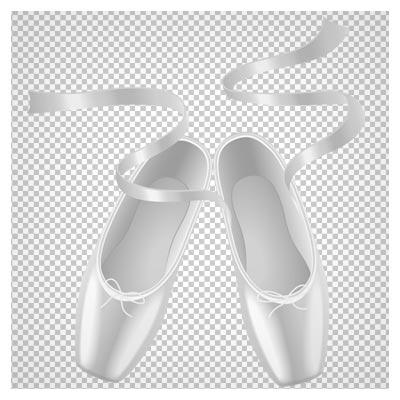 دانلود فایل دوربری شده کفش باله سفید (کفش های دخترانه) با پسوند png