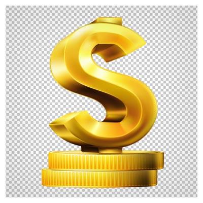دانلود علامت دلار طلایی پایه دار بصورت فایل دوربری شده فاقد پس زمینه
