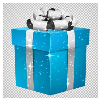 دانلود باکس هدیه آبی با ربان نقره ای بصورت فایل ترانسپرنت و فاقد پس زمینه