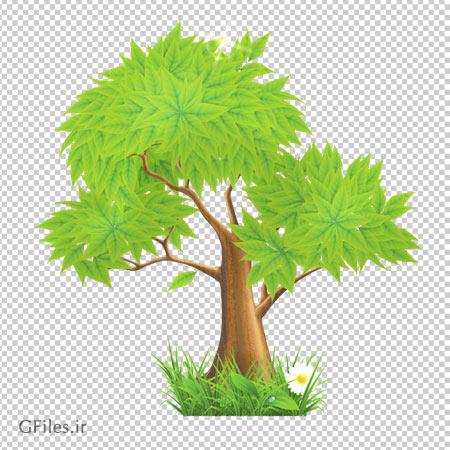 دانلود تصویر درخت پر برگ در سبزه ها بصورت فایل ترانسپرنت و بدون پس زمینه