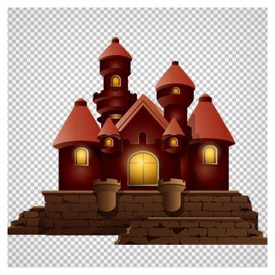 دانلود خانه قهوه ای کارتونی شیروانی دوربری شده و بدون پس زمینه
