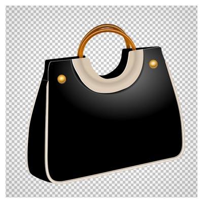 دانلود کیف زنانه مشکی دور سفید با فرمت png و فاقد بکگرند