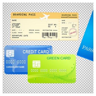 دانلود گرین کارت و پاسپورت و بلیط هواپیما دوربری شده با فرمت png