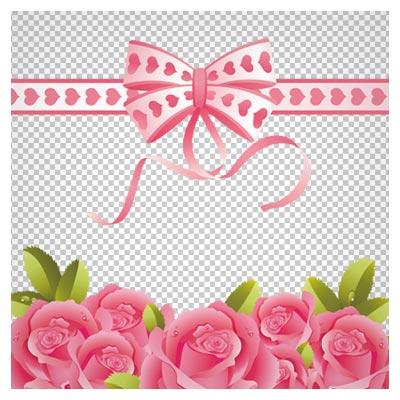 دانلود قاب عکس با پاپیون و گل های صورتی بدون پس زمینه و دوربری شده با فرمت png
