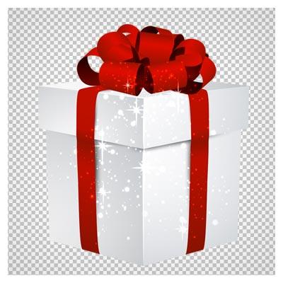 دانلود فایل دوربری شده جعبه کادویی سفید با ربان قرمز گلی شکل با فرمت png