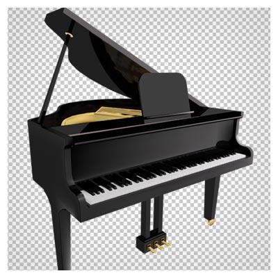 دانلود پیانو مشکی قدیمی درب باز دوربری شده با پسوند png