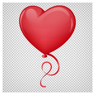 دانلود بادکنک قلبی قرمز با فرمت png و فاقد بکگرند