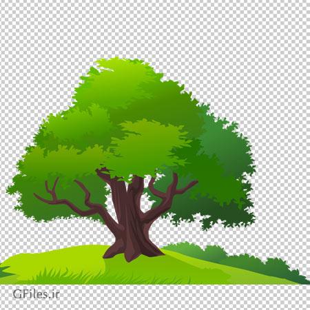 دانلود درخت سرسبز تنها در چمنزار به صورت ترانسپرنت و بدون پس زمینه