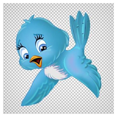 دانلود فایل بدون پس زمینه پرنده آبی کارتونی مهربان با فرمت png