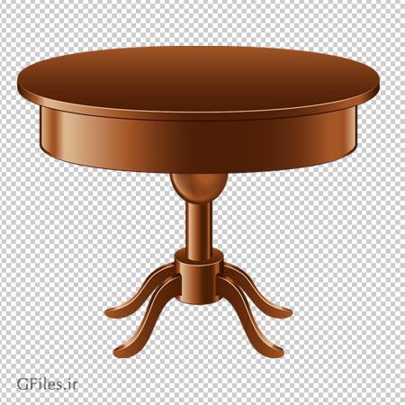 دانلود میز گرد چوبی پایه بلند با فرمت png و بدون پس زمینه