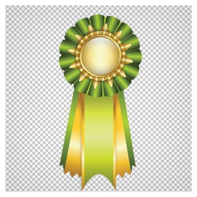 دانلود مدال و لیبل سبز و طلایی دوربری شده با فرمت png