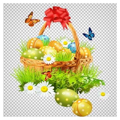 دانلود فایل دوربری شده سبد پر از تخم مرغ های رنگارنگ با فرمت png
