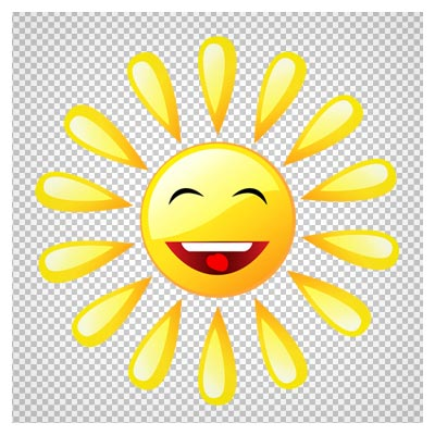 دانلود خورشید کارتونی خندان دوربری شده با پسوند png