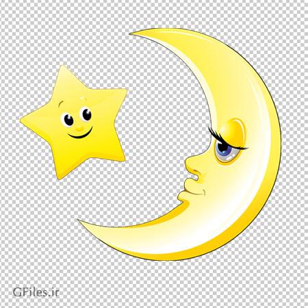 دانلود فایل دوربری شده ماه و ستاره طلایی کارتونی با فرمت png
