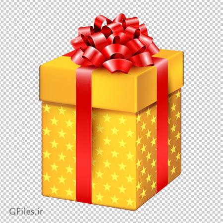 دانلود جعبه هدیه زرد با ربان قرمز بصورت فایل با پسوند png و بدون پس زمینه