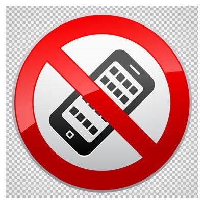 تابلوی استفاده از تلفن همراه ممنوع دوربری شده و بدون پس زمینه