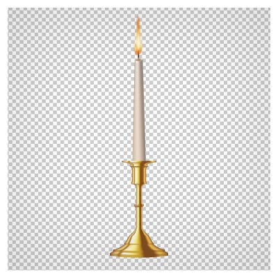 دانلود فایل png شمع و جا شمعی طلایی دوربری شده