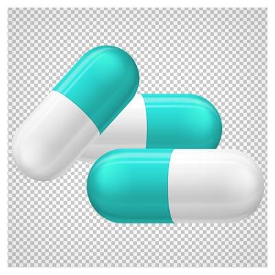 تصویر دارو و کپسول های سفید آبی با فرمت png و فاقد بکگرند