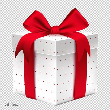 باکس و جعبه کادوی پاپیون دار سفید خالدار با فرمت png و فاقد بکگرند