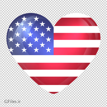 دانلود پرچم قلبی شکل آمریکا بدون پس زمینه با پسوند PNG