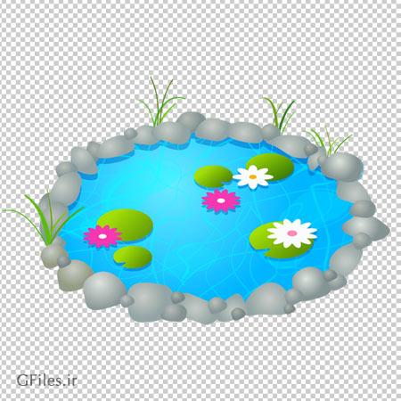 دانلود تصویر برکه آب شفاف سنگی و کارتونی بصورت فایل بدون بکگرند با پسوند png