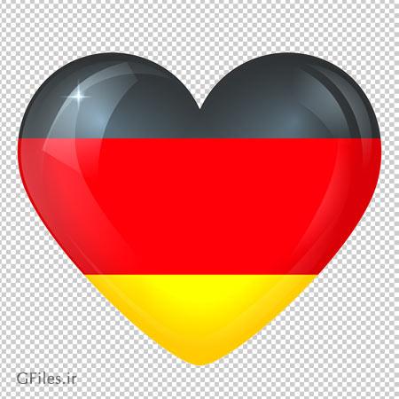 دانلود پرچم کشور آلمان بصورت قلبی با پسوند png و دوربری شده