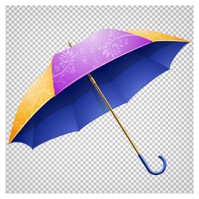 دانلود چتر بازشده بنفش زرد طرحدار بصورت فایل فاقد بکگرند و دوربری شده