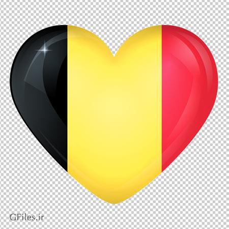 دانلود پرچم قلبی کشور بلژیک بصورت فایل با پسوند png و بدون پس زمینه