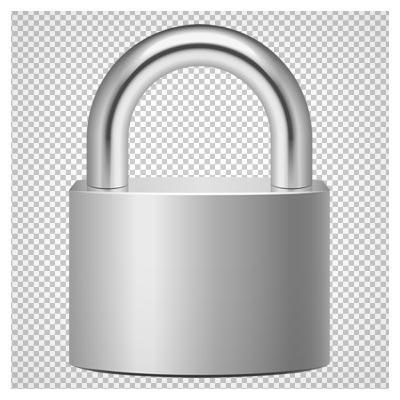دانلود قفل درب فلزی نقره ای بصورت فایل دوربری شده فاقد پس زمینه