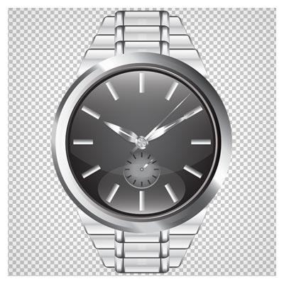 دانلود ساعت استیل مچی مردانه نقره ای بصورت فایل بدون پس زمینه و دوربری شده