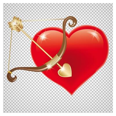 دانلود تیر و کمان بهمراه قلب قرمز بصورت فایل دوربری شده با پسوند png