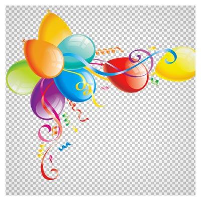 دانلود فریم روبان و بادکنک های رنگی آویزان با فرمت png ، به صورت فایل ترانسپرنت