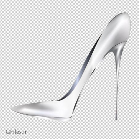 دانلود فایل دوربری شده کفش سفید براق پاشنه بلند با پسوند png