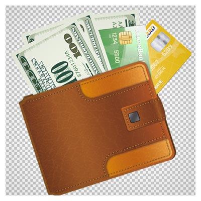 دانلود کیف پول پر از پول و کارت بانکی بدون پس زمینه با فرمت png