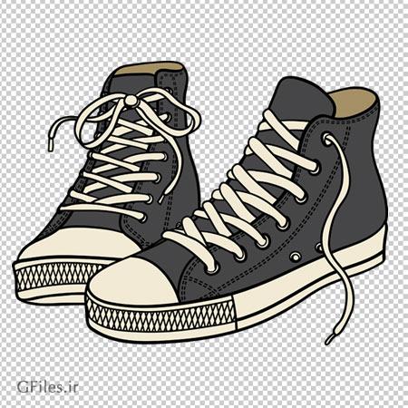 کفش اسپرت خاکستری نیم چکمه دوربری شده با فرمت png
