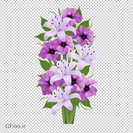 دانلود دسته گل های بنفش و لیلیوم سفید دوربری شده و بدون پس زمینه