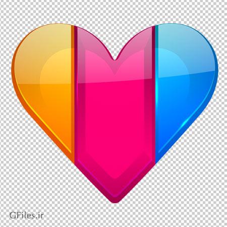 فایل png قلب سه رنگ شفاف شیشه ای بدون پس زمینه