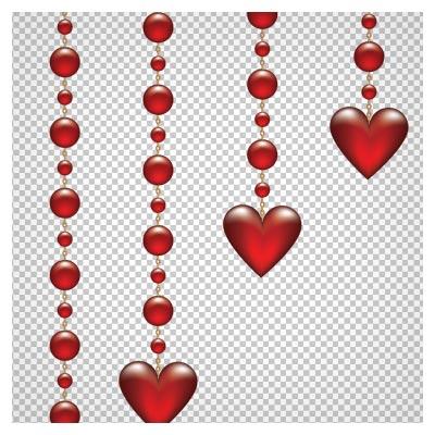 فایل png قلبهای آویزان قرمز به صورت ترانسپرنت و فاقد بکگرند