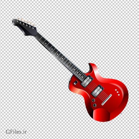 فایل ترانسپرنت گیتار الکتریکی قرمز با فرمت png