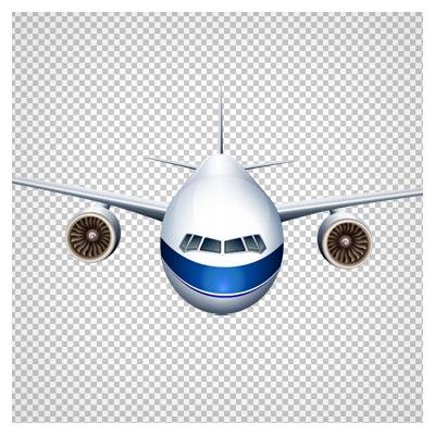 دانلود فایل دوربری شده PNG هواپیما مسافربری سفید با خط آبی بدون پس زمینه